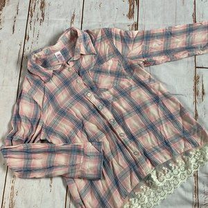 Justice girls light weight flannel shirt size 12